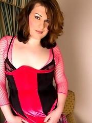 Cute transsexual hottie Allanah posing her juicy cock