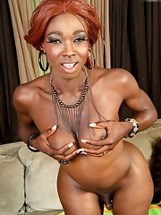 Curvy black T-girl strips and strokes