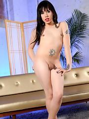 Naughty TS Kayden posing in sexy stockings