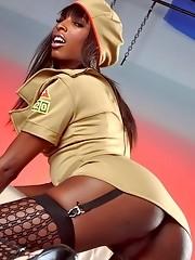 Horny Natassia Dreams exposing her black booty