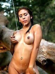 Wild nature shemale Carito posing in the forest