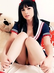 Cute teen transsexual fucking her asshole with a toy
