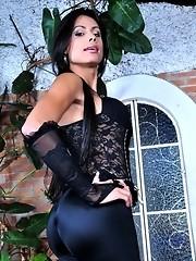 Brazilian transsexual posing her juicy stiff dick