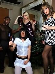 Amazing fuckfest at the tgirls xmas party