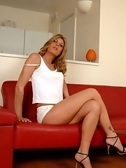 Sweet tgirl Angelina exposing her cute cock