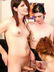 Juliette Stray, Mandy Mitchell, and Amy Daly in a tgirl threesome fuckfest